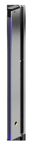 (Deutsch) Lichtvorhang Serie UPF Seitenansicht, Lichtvorhang-Profil sichtbar, Linse zeigt nach vorne